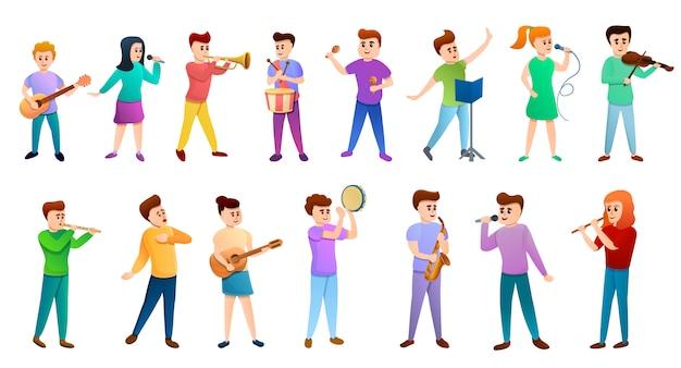 Music school people icons set