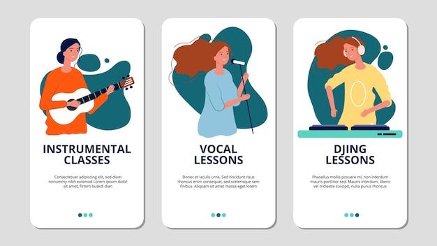 Веб-баннеры музыкальной школы. вокальные, инструментальные и диджейские курсы.