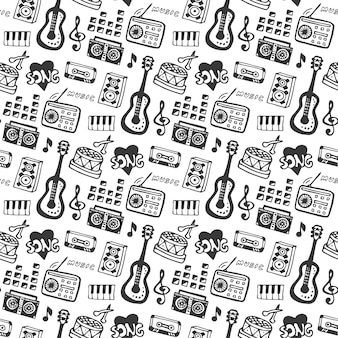 Music seamless pattern with doodle musical instruments and sound elements . vector illustration music print