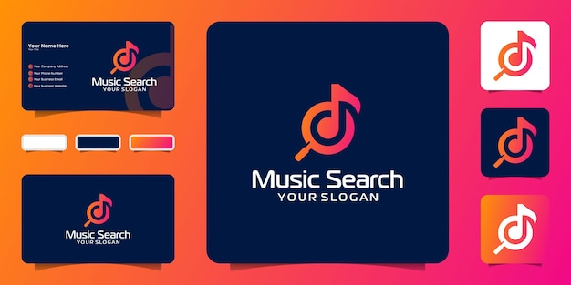 Music search logos and business card templates