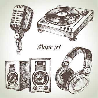 音楽セット。 djアイコンの手描きイラスト