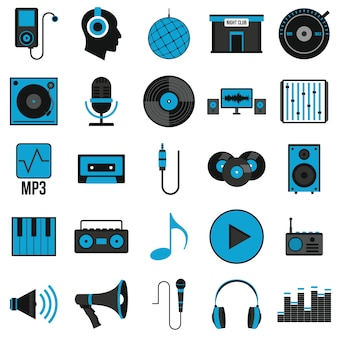 Music set icons in flat style