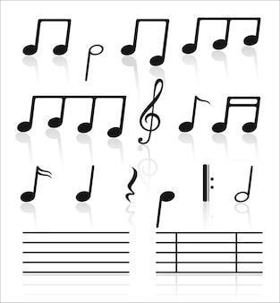 노트의 음악 세트.
