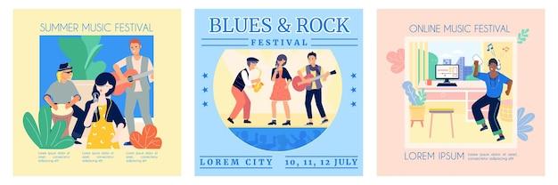 オンラインフェスティバルのミュージシャンとリスナーによる3つの正方形の楽曲の音楽セット