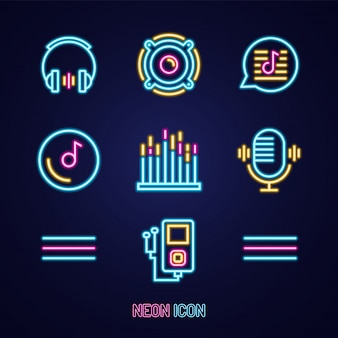 Music set simple luminous neon outline colorful icon on blue