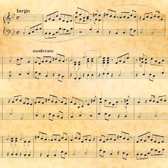Music sheet on old paper, seamless pattern
