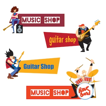 Music shop concept with musicians