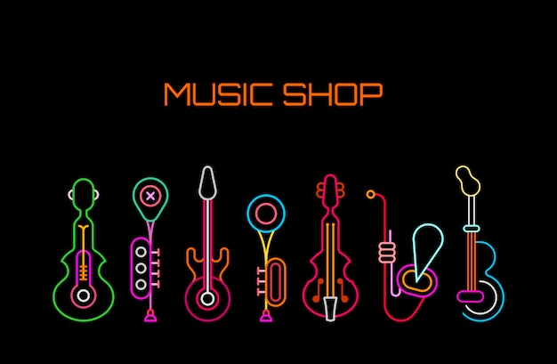 Music shop neon sign