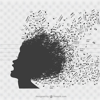 Music singer silhouette with music notes in the hair