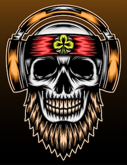 Music skull hand drawn illustration design