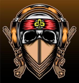 Музыкальный череп рисованной иллюстрации дизайн