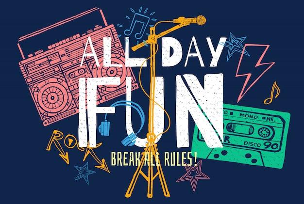 Музыкальный слоган графика для футболки дизайн плакаты ретро принты.