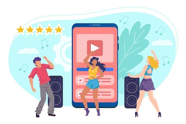 Music in smartphone illustration