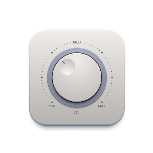 Music sound knob button, interface icon or audio control switch, vector. music sound volume level knob button or player tuner with max and min dial panel, music amplifier tuner app