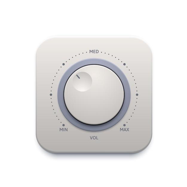 音楽サウンドノブボタン、インターフェイスアイコンまたはオーディオコントロールスイッチ、ベクトル。音楽音量レベルノブボタンまたは最大および最小ダイヤルパネル付きのプレーヤーチューナー、音楽アンプチューナーアプリ