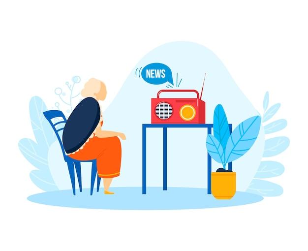Музыка, звук, новости из концепции ретро-радио, иллюстрации. персонаж пожилых людей слушает fm запись на объекте приемника. станция технологического стиля в винтажном домашнем интерьере.