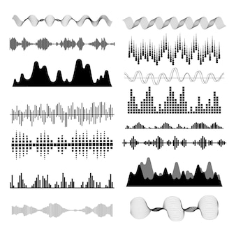 Music sound waves set.