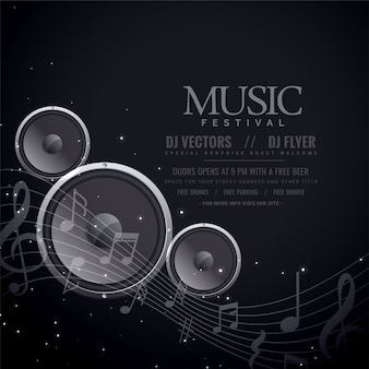Music speakers black poster