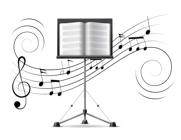 Music stand with musicbook on background of music notes