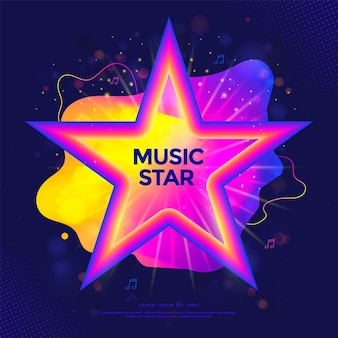 Music star banner or party poster with colorful liquid form tv show label with gradient stars