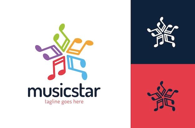 Music star logo design template modern logo style