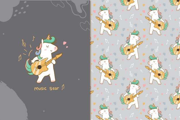 Music star unicorn seamless pattern