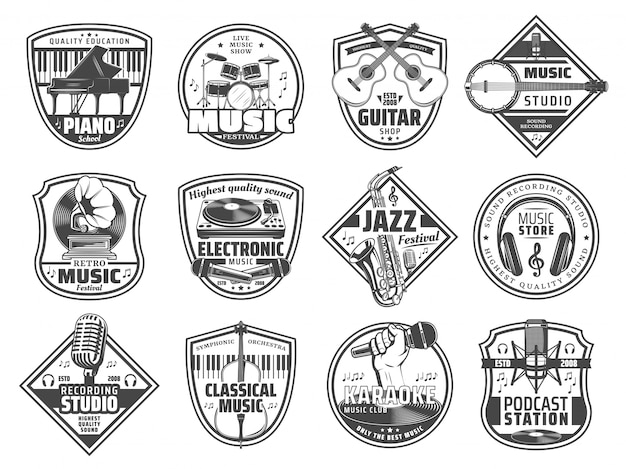 Music station, sound recording studio icons