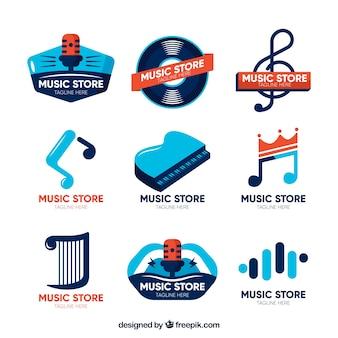 Collezione di logo del negozio di musica con design piatto