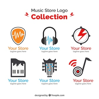 Music store logo collection with flat design