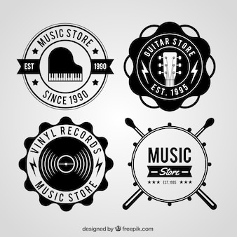 Music store logo collection with vintage style