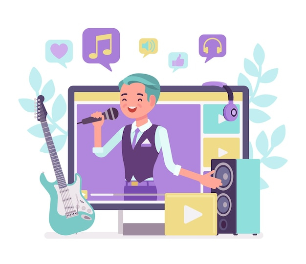 Music streamer boy. young handsome man broadcasting online popular songs, creating inspiring and entertaining musical content for journal or diary, blogging as hobby and job. vector illustration