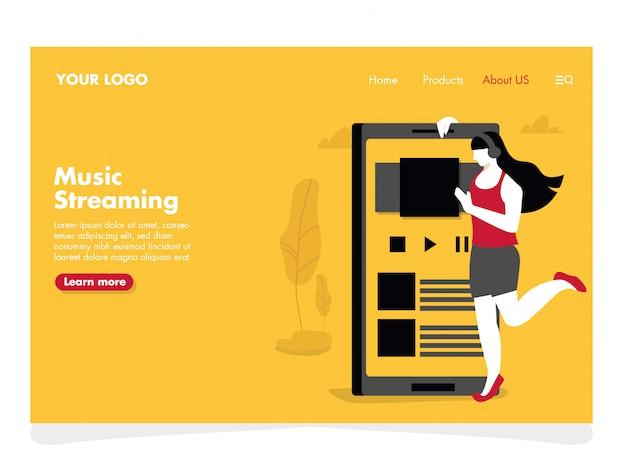 Музыка потоковая иллюстрация для целевой страницы