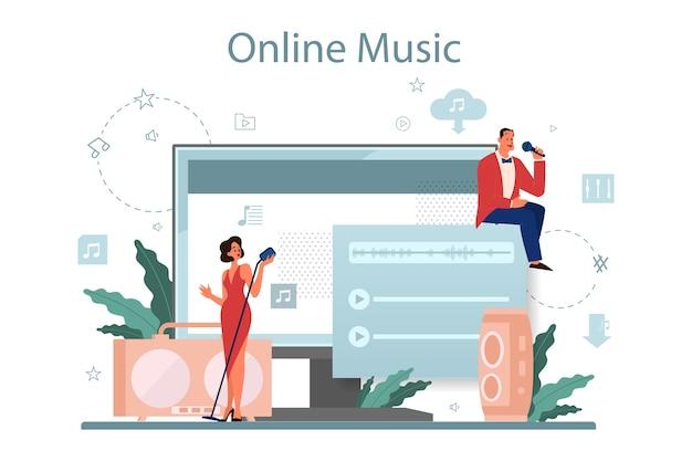 音楽ストリーミングサービスとプラットフォーム。別のデバイスからオンラインで音楽をストリーミングします。マイクで歌うパフォーマー。ベクトルフラットイラスト