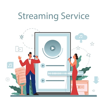 Music streaming service and platform. streaming music online from different device. performer singing with microphone.