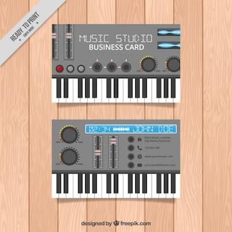 Music studio card of piano
