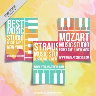 Music studio cards with watercolors