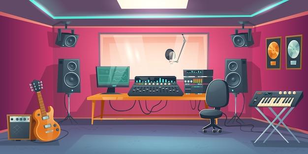 音楽スタジオコントロールルームと歌手ブース