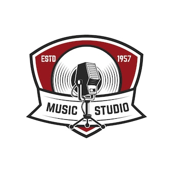 Music studio. emblem template with retro microphone.  element for logo, label, emblem, sign.  illustration