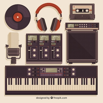 Music studio equipment in vintage style