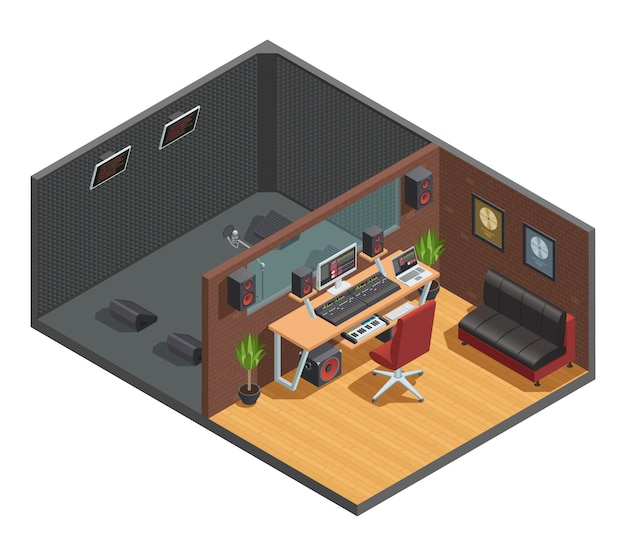 Music studio isometric interior composition with vocal recording soundproofed cabin joint with mixin