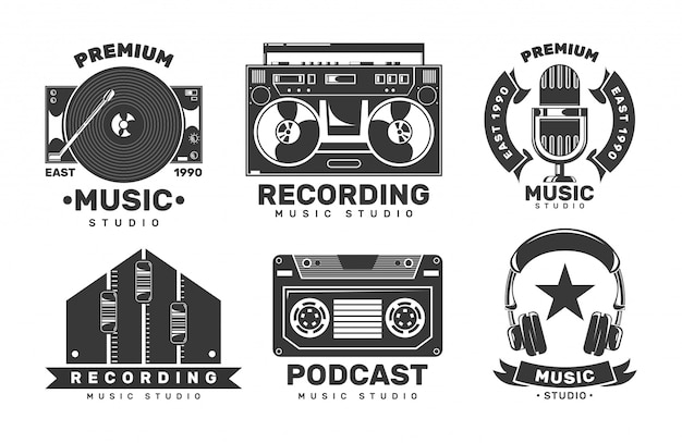 Music studio labels. invitation retro logos.