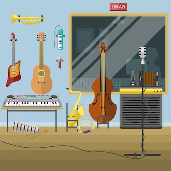 Music studio musical instruments producer record volume interior vector illustration.