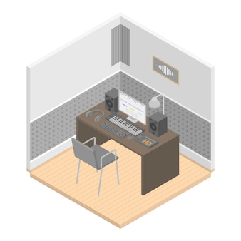 Music studio room icon, isometric style