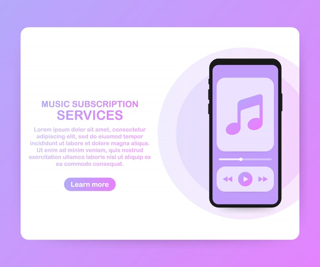 Music subscription services landing page website template. vector isometric smartphone with headphones. vector illustration.