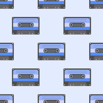 Музыкальные символы. бесшовный фон из ретро кассет. рок-музыка фоновые текстуры, музыкальный рисованной каракули стиль.