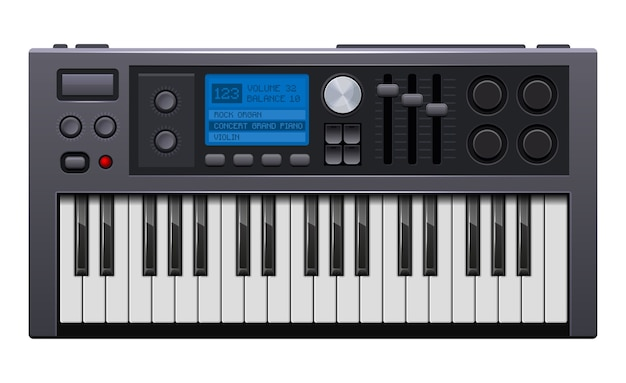 Music synthesizer. realistic style electronic piano.