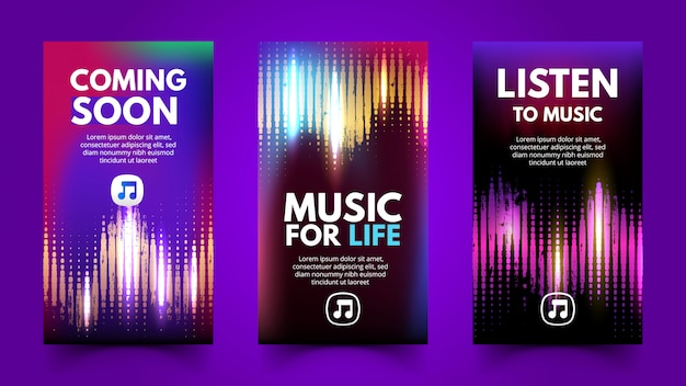 Music template with halftone for social media