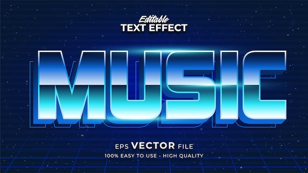 Music text in colorful gradient with glowing effect and futuristic style
