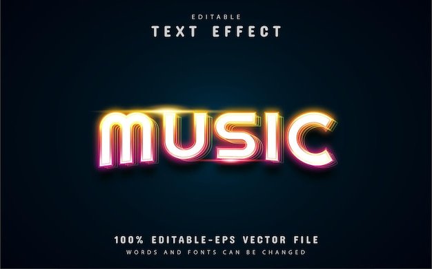 Music text, colorful neon text effect