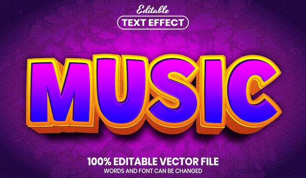 Music text, font style editable text effect